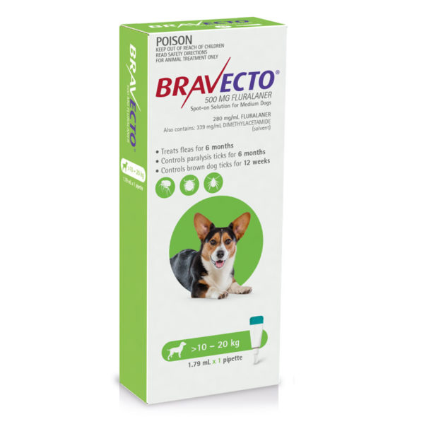 Bravecto Green Spot-On for Medium Dogs - Single 1