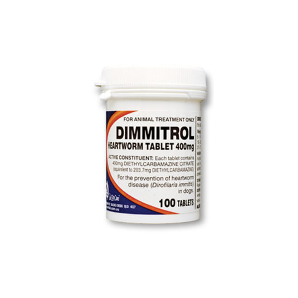Dimmitrol Daily Heartworm Tablets 400mg - 100 Pack 1