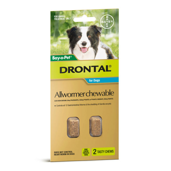 Drontal Allwormer Chews for Dogs (up to 10kg) - 2 Pack 1