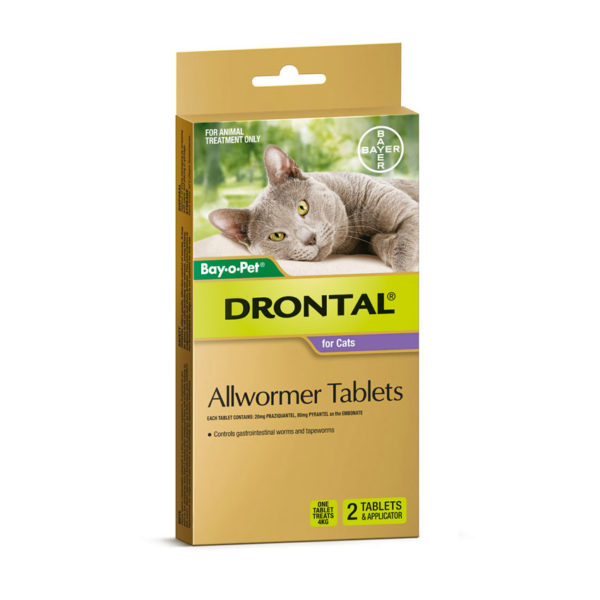Drontal Allwormer Tablets for Cats (up to 4kg) - 2 Pack 1