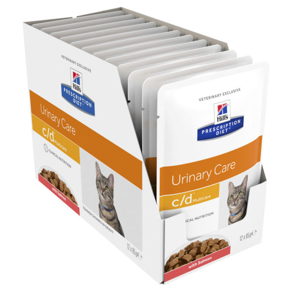 Hills Prescription Diet Feline c/d Urinary Multicare Salmon 85g x 12 Pouches 1