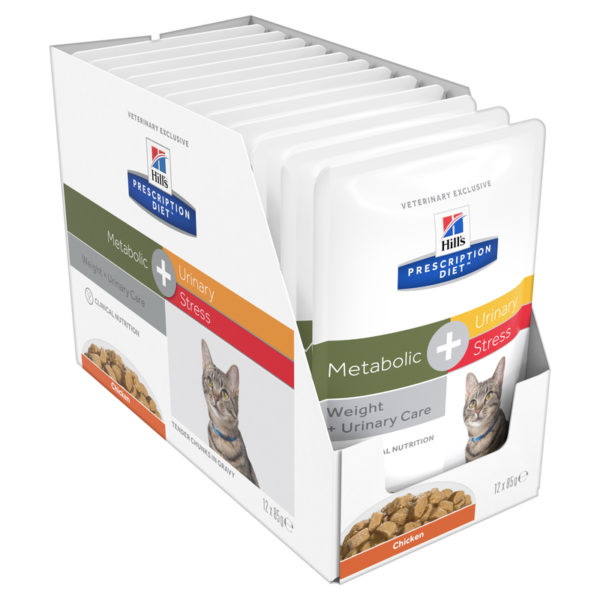 Hills Prescription Diet Feline Metabolic + Urinary Stress 85g x 12 Pouches 1