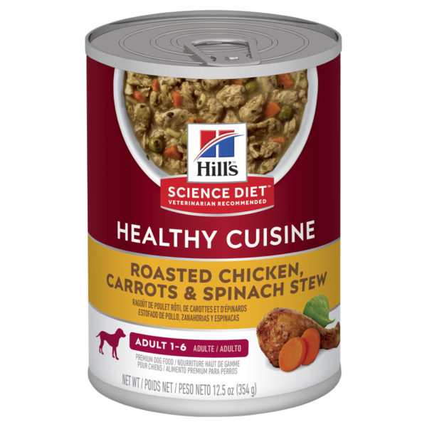 Hills Science Diet Adult Dog Healthy Cuisine Roasted Chicken Carrots & Spinach Stew 354g x 12 cans 1