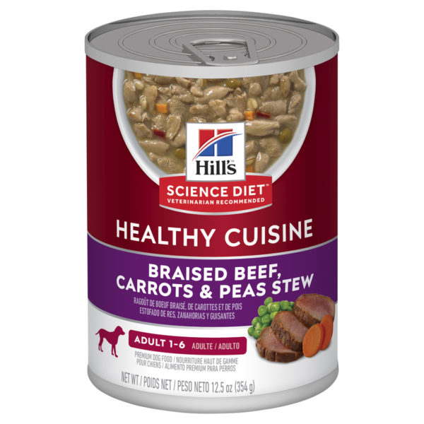 Hills Science Diet Adult Dog Healthy Cuisine Braised Beef Carrots & Peas Stew 354g x 12 cans 1