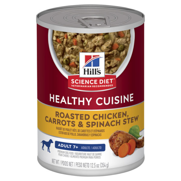 Hills Science Diet Adult Dog 7+ Healthy Cuisine Roasted Chicken Carrots & Spinach Stew 354g x 12 Cans 1