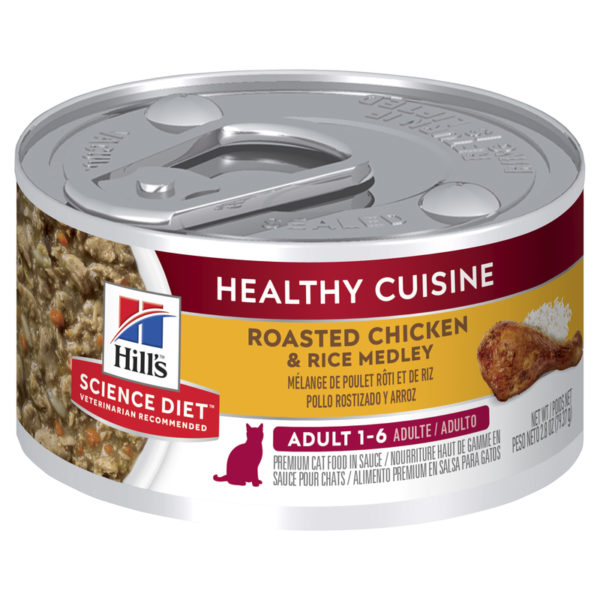 Hills Science Diet Adult Cat Healthy Cuisine Roasted Chicken & Rice Medley 79g x 24 Cans 1
