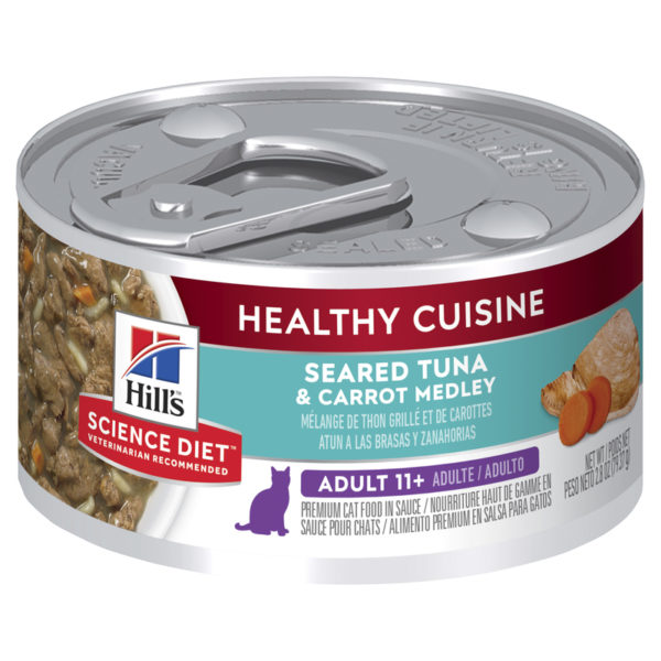 Hills Science Diet Adult Cat 11+ Healthy Cuisine Seared Tuna & Carrot Medley 79g x 24 Cans 1