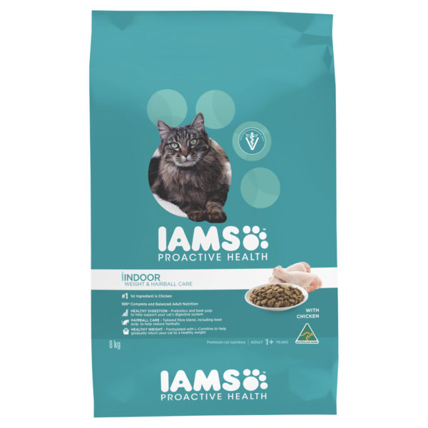 IAMS Adult Cat Indoor Weight and Hairball Care Chicken 8kg 1