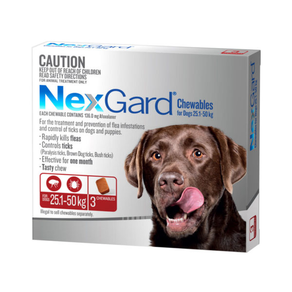 NexGard Red Chews for Extra Large Dogs (25.1-50kg) - 3 Pack 1