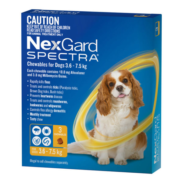 NexGard Spectra Yellow for Small Dogs (3.6-7.5kg) - 3 Pack 1