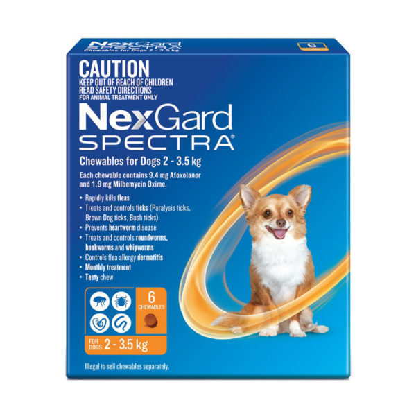 NexGard Spectra Orange Chews for Very Small Dogs (2-3.5kg) - 6 Pack 1