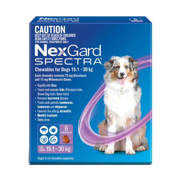 NexGard Spectra Purple for Large Dogs (15.1-30kg) - 6 Pack 1