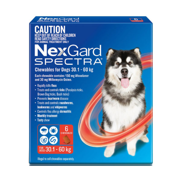 NexGard Spectra Red for Very Large Dogs (30.1-60kg) - 6 Pack 1