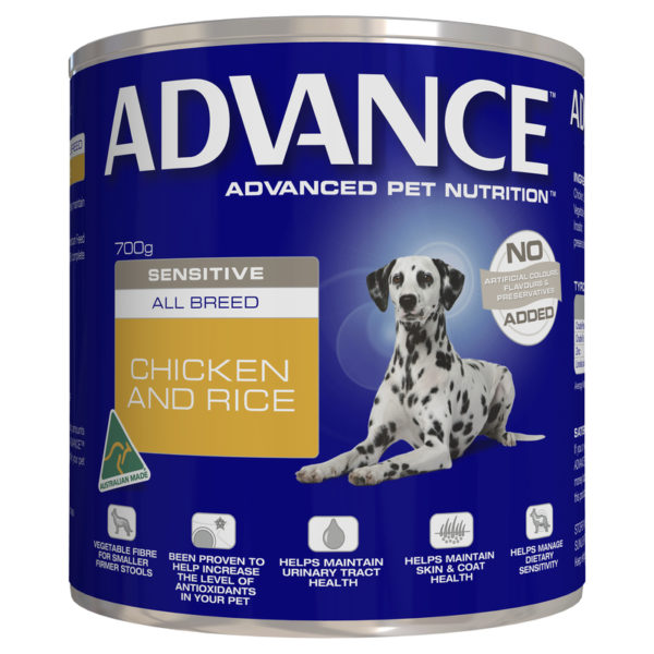 Advance Adult Dog Sensitive All Breed Chicken & Rice 700g x 12 Cans 1