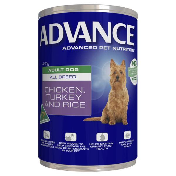 Advance Adult Dog Chicken Turkey & Rice 410g x 12 Cans 1