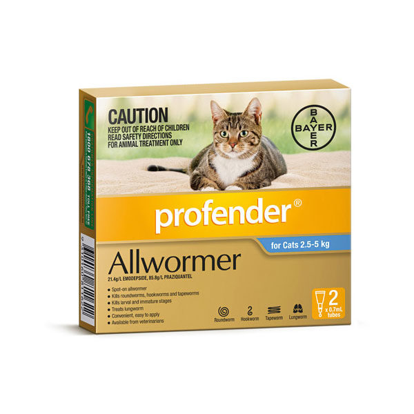 Profender Allwormer Spot-On for Cats - 2 tubes 1