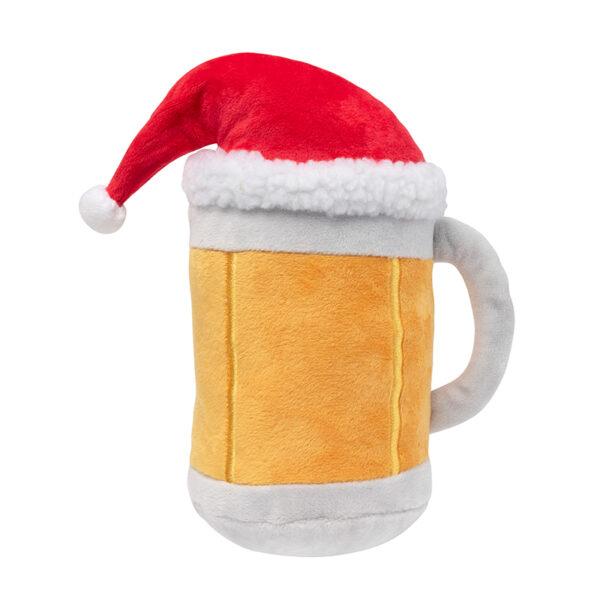 FuzzYard Christmas Beer Mug with Xmas Hat Plush Dog Toy 1