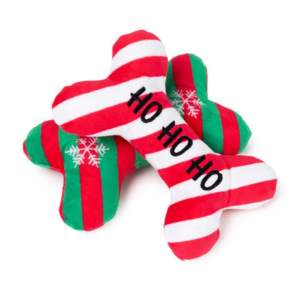 FuzzYard Christmas Ho Ho Ho / Snowflake Bones Plush Dog Toy 2 Pack 1